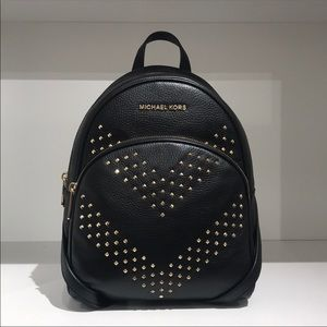 Michael Kors Abbey studded black leather backpack